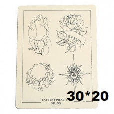 Training tattoo leather rose pattern larger 30 x 20 cm