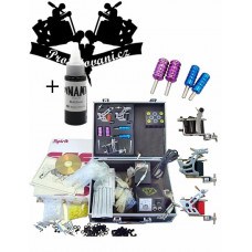 Tattoo set 3x Coil tattoo machine with Suitcase and Dynamic Black
