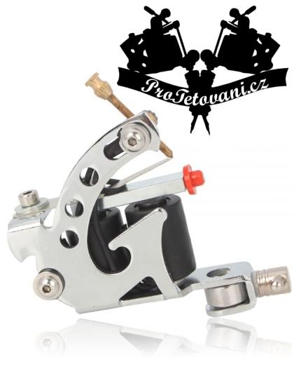Cívkový tetovací strojek Silver Spin a tetovací grip