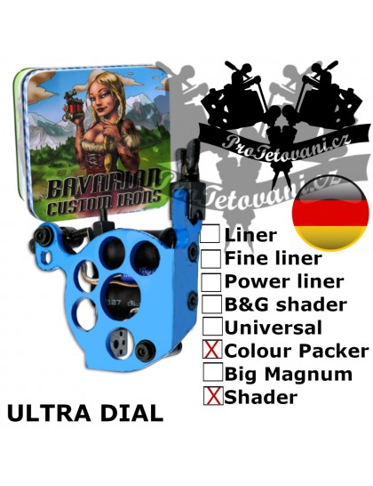 Profesionální cívkový strojek Bavarian Custom Irons Ultra Dial Shader