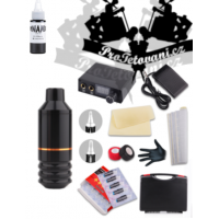 Tattoo set with rotary cartridge machine PEN MINI and Dynamic Black color in a case
