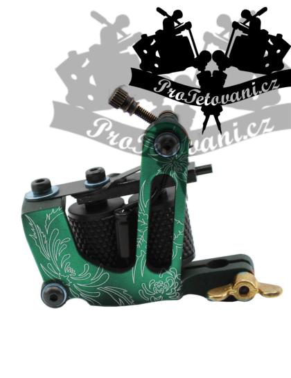 Tetovací strojek cívkový Hawaii Green a tetovací grip