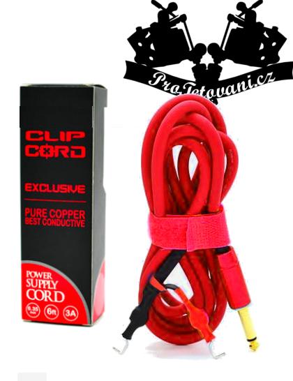 Prémiový Clip cord silikonový hrubý red