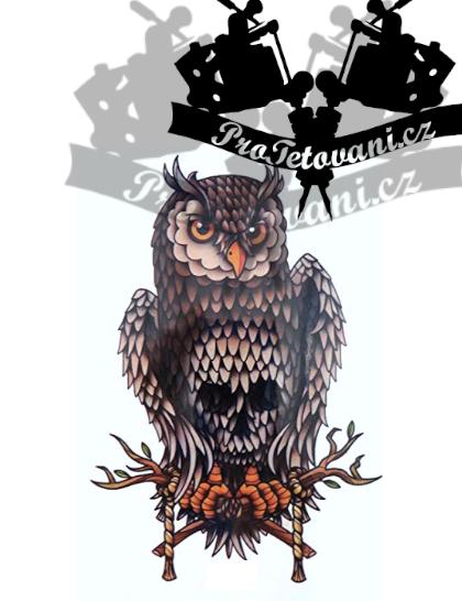 Dočasné tetování tetovačka Sova