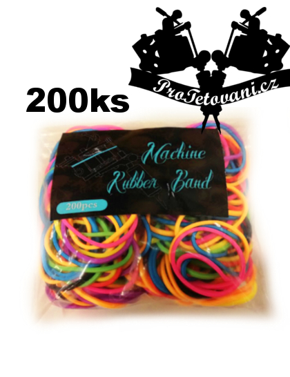 Gumičky pro tetovací strojek rubberbands 200ks zářivé