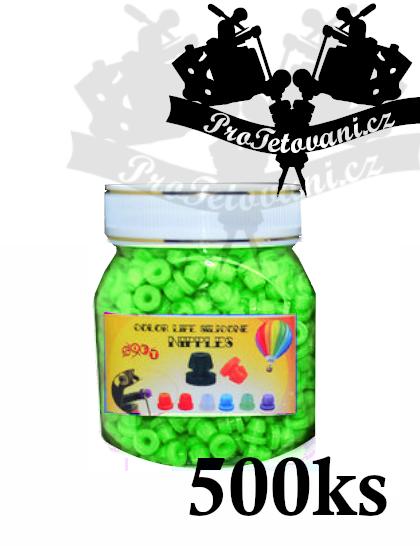 Grommets gumičky pro tetovací strojky green balení 500 ks