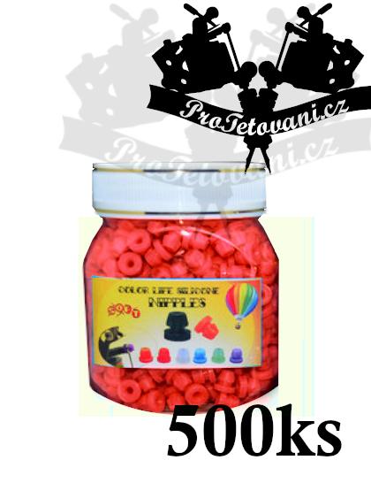 Grommets gumičky pro tetovací strojky red balení 500 ks