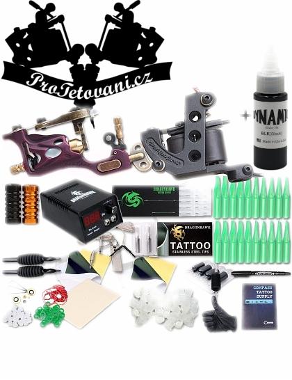 Kombinovaná tetovací sada s cívkovým i rotačním tetovacím strojkem a Dynamic Black