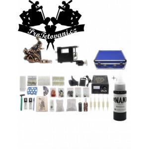 Kombinovaná tetovací sada s rotačním i cívkovým strojkem, kufrem a Dynamic Black