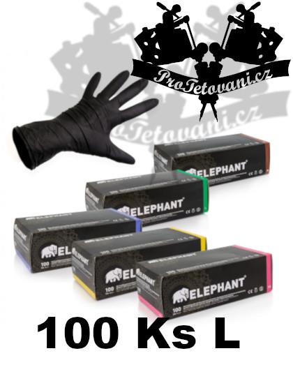 Latexové rukavice ELEPHANT BLACK vhodné pro tetování velikost L