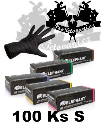 Latexové rukavice ELEPHANT BLACK vhodné pro tetování velikost S