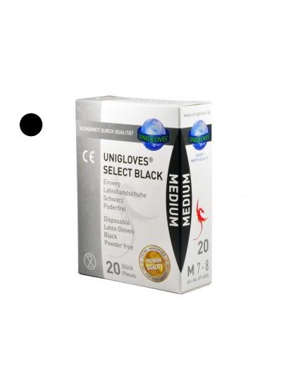 Latexové rukavice vhodné pro tetování BLACK M 20 ks