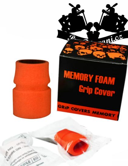Návlek na tetovací grip z paměťovou pěnou Orange sterilní