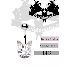 Navel piercing Crystal Cat