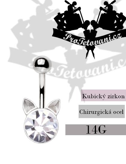 Piercing do pupíku Crystal Cat