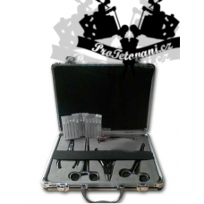 Piercing set with pliers in a briefcase