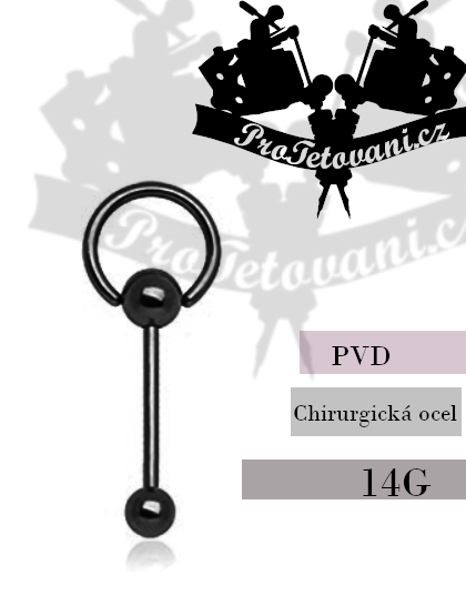 Piercing činka s kroužkem PVD Black