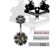 Navel piercing Flower Emerald