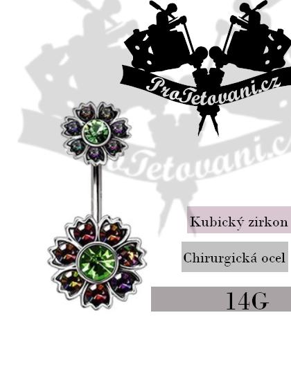 Piercing do pupíku Flower Emerald