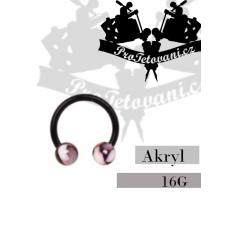 Horseshoe acrylic piercing Marble Black AK2