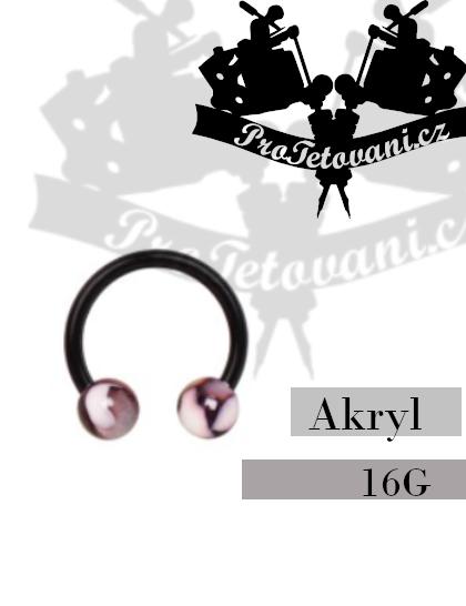 Piercing podkova akryl Marble Black AK2