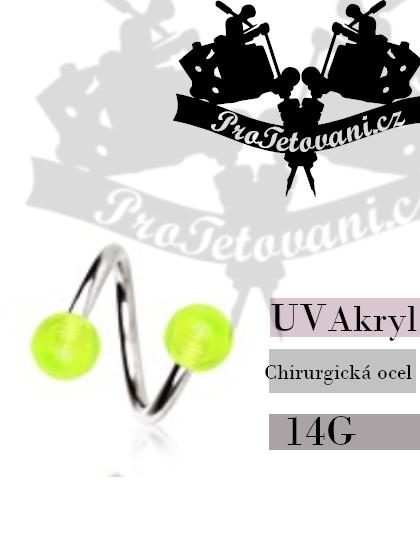 Piercing Twist UV Green Balls