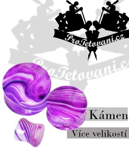 Plug přírodní kámen Violet Stripe Achát