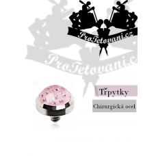 Jewelry for microdermal piercing Glitter pink