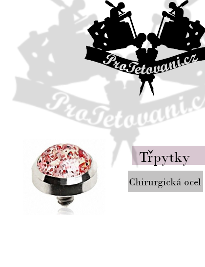 Šperk pro mikrodermalní piercing Glitter red