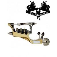 Gold Ribs rotary tattoo machine and tattoo grip