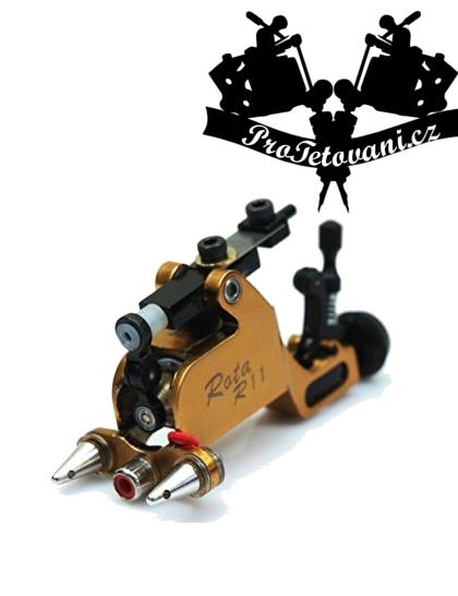 Rotační tetovací strojek Rota Gold s RCA i clipcord konektorem a tetovací grip