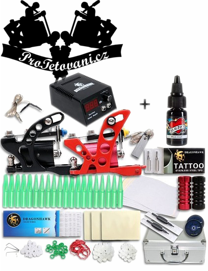 Velká tetovací sada s dvěma rotačními strojky kufrem a Moms Millennium black Onyx 30ml