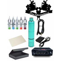 Tattoo set with rotary cartridge machine PEN and dual power supply