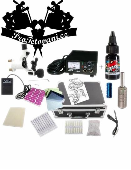 Tetovací sada s jedno rotačním strojkem a kufrem a Millenium Moms Black Onyx