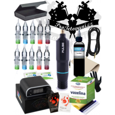 Large tattoo set with rotary cartridge machine PEN PULSE and Intenze True Black