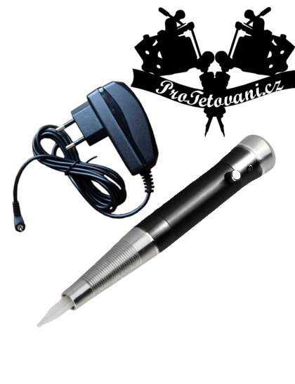 Rotační strojek Black s adaptérem pro permanentní make up na jehly