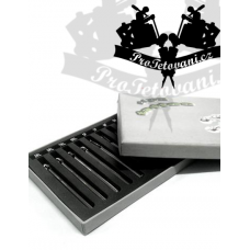 Set of 10 long tips for stainless steel tattoos in a case