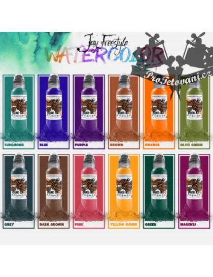 Set tetovacích barev World Famous Ink Jay Freestyle Watercolor 12 barev v sadě