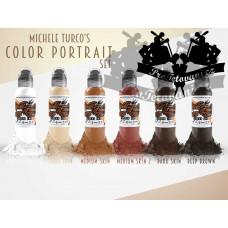 Set of tattoo colors World Famous   Michele Turco Color Portrait 6pcs