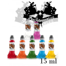 Set of tattoo colors World Famous Ink 7 colors in a set of 15 ml