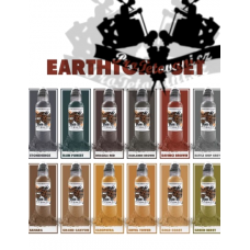 Set of tattoo colors World Famous Ink Earth tone 12 colors in a set