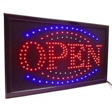 Illuminated LED board with the word OPEN