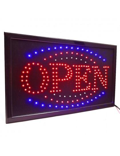 Svítící LED tabule s nápisem OPEN