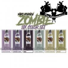 Set of tattoo colors Maks Kornev Zombie 6 pcs