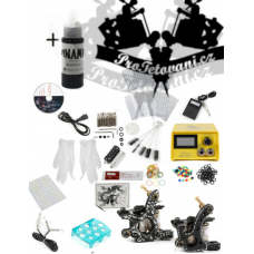 Tattoo set with two coil tattoo machines YELLOW and Dynamic Black