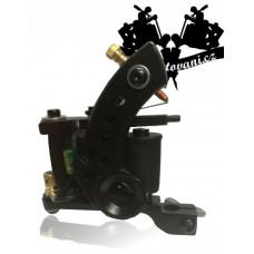 Round black coil tattoo machine and tattoo grip