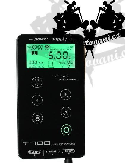 Dotykový LCD tetovací zdroj T700 Black