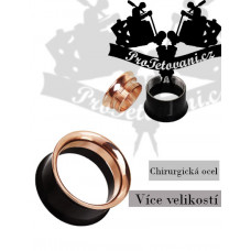 Black and Rose Gold surgical steel tunnel