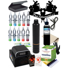 Large tattoo set with rotary cartridge machine PEN and Intenze True Black
